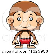 Clipart Of A Cartoon Happy Monkey Swimmer Royalty Free Vector Illustration