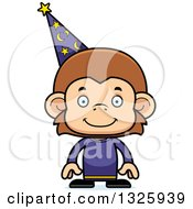 Clipart Of A Cartoon Happy Monkey Wizard Royalty Free Vector Illustration by Cory Thoman