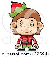 Clipart Of A Cartoon Happy Monkey Christmas Elf Royalty Free Vector Illustration
