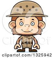 Clipart Of A Cartoon Happy Monkey Zookeeper Royalty Free Vector Illustration