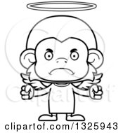 Lineart Clipart Of A Cartoon Black And White Mad Monkey Angel Royalty Free Outline Vector Illustration