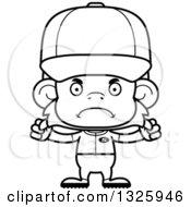 Poster, Art Print Of Cartoon Black And White Mad Monkey Baseball Player