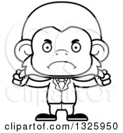 Lineart Clipart Of A Cartoon Black And White Mad Business Monkey Royalty Free Outline Vector Illustration