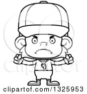 Lineart Clipart Of A Cartoon Black And White Mad Monkey Coach Royalty Free Outline Vector Illustration