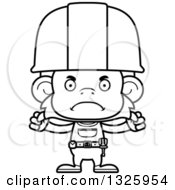 Cartoon Black And White Mad Monkey Construction Worker