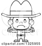 Lineart Clipart Of A Cartoon Black And White Mad Cowboy Monkey Royalty Free Outline Vector Illustration