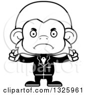 Lineart Clipart Of A Cartoon Black And White Mad Monkey Groom Royalty Free Outline Vector Illustration