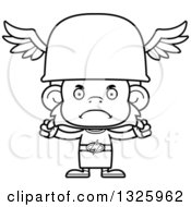 Lineart Clipart Of A Cartoon Black And White Mad Hermes Monkey Royalty Free Outline Vector Illustration