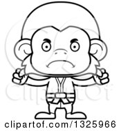 Lineart Clipart Of A Cartoon Black And White Mad Karate Monkey Royalty Free Outline Vector Illustration