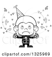 Lineart Clipart Of A Cartoon Black And White Mad Party Monkey Royalty Free Outline Vector Illustration