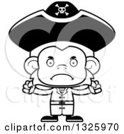Lineart Clipart Of A Cartoon Black And White Mad Monkey Pirate Royalty Free Outline Vector Illustration