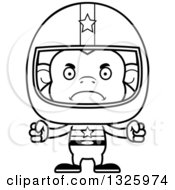 Lineart Clipart Of A Cartoon Black And White Mad Monkey Race Car Driver Royalty Free Outline Vector Illustration