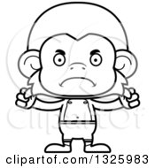 Lineart Clipart Of A Cartoon Black And White Mad Monkey Swimmer Royalty Free Outline Vector Illustration
