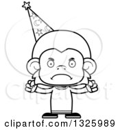 Lineart Clipart Of A Cartoon Black And White Mad Monkey Wizard Royalty Free Outline Vector Illustration