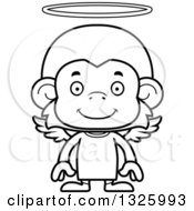 Lineart Clipart Of A Cartoon Black And White Happy Monkey Angel Royalty Free Outline Vector Illustration