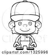 Poster, Art Print Of Cartoon Black And White Happy Monkey Baseball Player