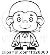 Lineart Clipart Of A Cartoon Black And White Happy Business Monkey Royalty Free Outline Vector Illustration