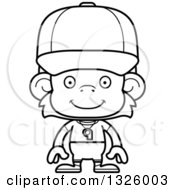 Lineart Clipart Of A Cartoon Black And White Happy Monkey Coach Royalty Free Outline Vector Illustration