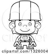 Cartoon Black And White Happy Monkey Construction Worker