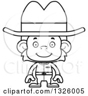 Lineart Clipart Of A Cartoon Black And White Happy Cowboy Monkey Royalty Free Outline Vector Illustration