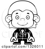 Lineart Clipart Of A Cartoon Black And White Happy Monkey Groom Royalty Free Outline Vector Illustration