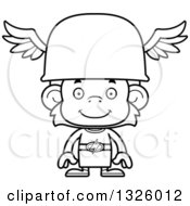 Lineart Clipart Of A Cartoon Black And White Happy Hermes Monkey Royalty Free Outline Vector Illustration