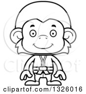 Lineart Clipart Of A Cartoon Black And White Happy Karate Monkey Royalty Free Outline Vector Illustration