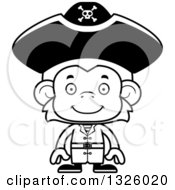 Lineart Clipart Of A Cartoon Black And White Happy Monkey Pirate Royalty Free Outline Vector Illustration