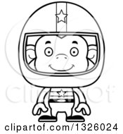 Lineart Clipart Of A Cartoon Black And White Happy Monkey Race Car Driver Royalty Free Outline Vector Illustration