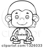 Lineart Clipart Of A Cartoon Black And White Happy Monkey Swimmer Royalty Free Outline Vector Illustration