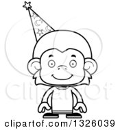 Lineart Clipart Of A Cartoon Black And White Happy Monkey Wizard Royalty Free Outline Vector Illustration