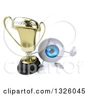 Clipart Of A 3d Blue Eyeball Character Holding Up A Thumb And Trophy Royalty Free Illustration