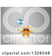 Clipart Of A 3d Sun Character Wearing Sunglasses Giving A Thumb Up And Holding An Argentine Flag On Gray 2 Royalty Free Illustration