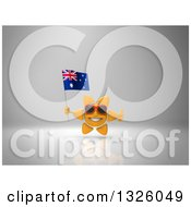 Clipart Of A 3d Sun Character Wearing Shades Giving A Thumb Up And Holding An Australian Flag On Gray 2 Royalty Free Illustration