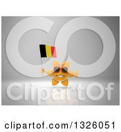 Clipart Of A 3d Sun Character Wearing Shades Holding A Belgian Flag And Giving A Thumb Up On Gray 2 Royalty Free Illustration