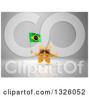 Clipart Of A 3d Sun Character Wearing Shades Giving A Thumb Up And Holding A Brazilian Flag On Gray 2 Royalty Free Illustration