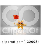 Clipart Of A 3d Sun Character Wearing Shades Holding A Chinese Flag And Giving A Thumb Up On Gray 2 Royalty Free Illustration