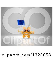 Clipart Of A 3d Sun Character Wearing Shades Giving A Thumb Up And Holding A European Flag On Gray 2 Royalty Free Illustration