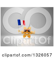 Clipart Of A 3d Sun Character Wearing Shades Giving A Thumb Up And Holding A French Flag On Gray 2 Royalty Free Illustration