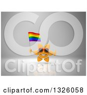 Clipart Of A 3d Sun Character Wearing Shades Giving A Thumb Up And Holding A Rainbow Flag On Gray 2 Royalty Free Illustration