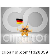 Clipart Of A 3d Sun Character Wearing Shades Giving A Thumb Up And Holding A German Flag On Gray 2 Royalty Free Illustration