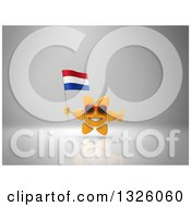 Clipart Of A 3d Sun Character Wearing Shades Holding A Netherlands Flag And Giving A Thumb Up On Gray 2 Royalty Free Illustration