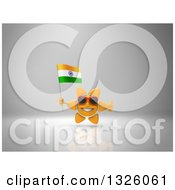 Clipart Of A 3d Sun Character Wearing Shades Giving A Thumb Up And Holding An Indian Flag On Gray 2 Royalty Free Illustration