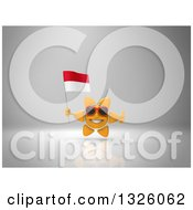 Clipart Of A 3d Sun Character Wearing Shades Holding An Indonesian Flag And Giving A Thumb Up On Gray 2 Royalty Free Illustration