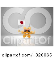 Clipart Of A 3d Sun Character Wearing Shades Holding A Japanese Flag And Giving A Thumb Up On Gray 2 Royalty Free Illustration