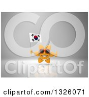 Clipart Of A 3d Sun Character Wearing Shades Holding A South Korean Flag And Giving A Thumb Up On Gray 2 Royalty Free Illustration