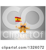 Clipart Of A 3d Sun Character Wearing Shades Holding A Spanish Flag And Giving A Thumb Up On Gray 2 Royalty Free Illustration