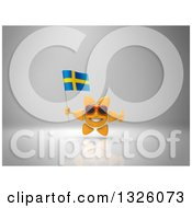 Clipart Of A 3d Sun Character Wearing Shades Holding A Swedish Flag And Giving A Thumb Up On Gray 2 Royalty Free Illustration