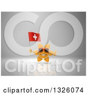 Clipart Of A 3d Sun Character Wearing Shades Holding A Swiss Flag And Giving A Thumb Up On Gray 2 Royalty Free Illustration