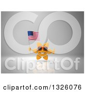 Clipart Of A 3d Sun Character Wearing Shades Giving A Thumb Up And Holding An American Flag On Gray 2 Royalty Free Illustration